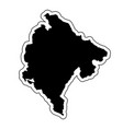 black silhouette of the country montenegro with vector image vector image