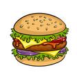 burger sandwich pop art vector image