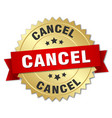 cancel 3d gold badge with red ribbon vector image vector image