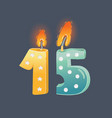 cartoon 15 years birthday card candles on dark vector image