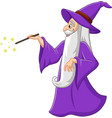 cartoon old wizard with magic wand vector image