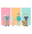 cartoon people characters bring pets in veterinary vector image vector image