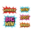Casino or game icons Lettering such as win vector image