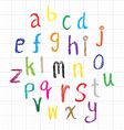 Child drawing of alphabet font made with wax crayo