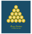 Christmas card with golden tree and balls on blue vector image vector image
