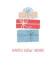 christmas greeting card with three gifts on white vector image vector image