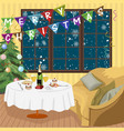 Christmas interior room with decorated table vector image