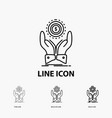 coin hand stack dollar income icon in thin vector image