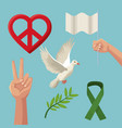 color poster icons of peace and love symbols vector image vector image