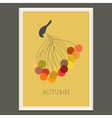 Colorful autumn poster with berries and bird vector image vector image