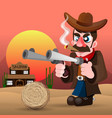 cowboy with gun and hat vector image vector image