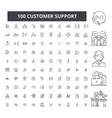 customer support editable line icons 100 vector image vector image
