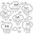cute raining cloud characters vector image