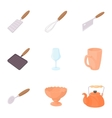 Eating utensils icons set cartoon style vector image vector image