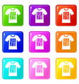 electronic t-shirt icons 9 set vector image vector image