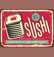 food sign with fresh and delicious sushi vector image