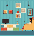 freelance woman work from home in armchair vector image