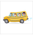funny school bus kids riding on school bus vector image vector image