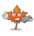 gamer red maple leaf mascot cartoon vector image