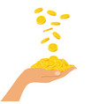 hand holding a pile of coins falling from above vector image vector image