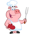 Happy pig chef holding a fork vector | Price: 1 Credit (USD $1)