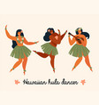 hawaiian hula dancers young pretty woman vector image vector image