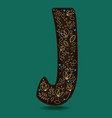 letter j with golden floral decor vector image vector image