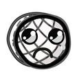 line kawaii cute sad waffles with honey vector image vector image
