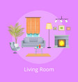 living room interior isolated on lilac backdrop vector image vector image
