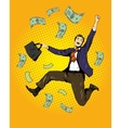 Man dancing with money flying around vector image