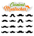 moustaches stickers clipart set black silhouettes vector image