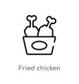 outline fried chicken icon isolated black simple vector image vector image