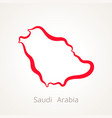 outline map of saudi arabia marked with red line vector image vector image