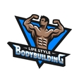 Posing bodybuilder badge emblem vector image