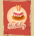 red vintage birthday card with cake tier on napkin vector image