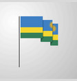 rwanda waving flag creative background vector image vector image