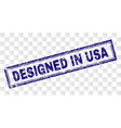 scratched designed in usa rectangle stamp vector image vector image