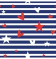 Seamless striped pattern with hearts and stars vector image vector image