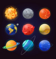 set isolated solar system planets and sun vector image vector image