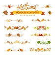 Set of autumn leaves borders page decorations and vector image vector image