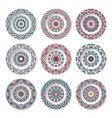 set of nine decorative plates vector image vector image
