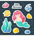 set sea stickers mermaid fish shells coral vector image vector image