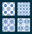 set vintage ceramic tiles in azulejo design vector image