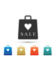 shopping bag shop love like heart symbol vector image vector image