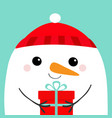 snowman head face holding gift box red hat merry vector image vector image