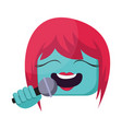 square blue female emoji face with pink hair vector image vector image