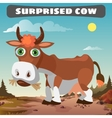 Surprised cow character from wild West series vector image vector image