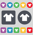 T-shirt icon sign A set of 12 colored buttons Flat vector image vector image