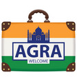 travel bag with indian flag and taj mahal vector image