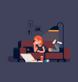woman watching movies on sofa vector image vector image